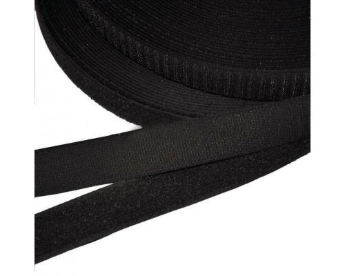 Лента крючковая 20 мм, 100% нейлон, черный, рулон 25 м, Тайвань