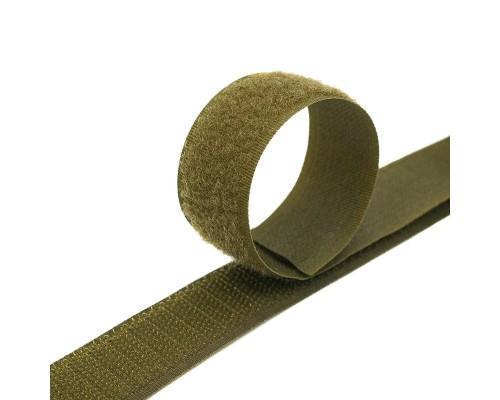 Лента крючковая 16 мм, хаки, 100% нейлон, рулон 25 м, КНР