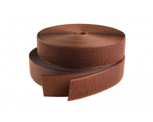 Лента крючковая 25 мм, 100% нейлон, коричневый, рулон 25 м, Тайвань