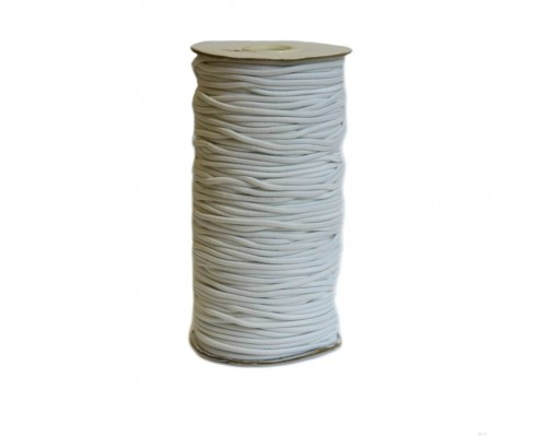 Резинка шляпная, 2,5 мм, белая, катушка 100 м