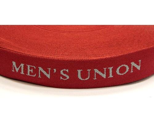 Лента эласт.для мужского белья (резинка) 28 мм (красный/серый) MENS UNION, уп. 25 м