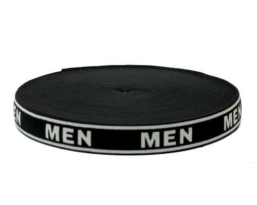 """Лента эласт. для мужского белья (резинка) 28 мм """"MEN"""" серо-черная """"MEN"""", уп. 25 м"""