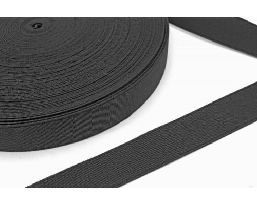 Резинка 25 мм, ткацкая, рулон 40 м, черная