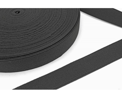 Резинка 35 мм тканая, арт. ЛТ-35, рулон 20 м, черная