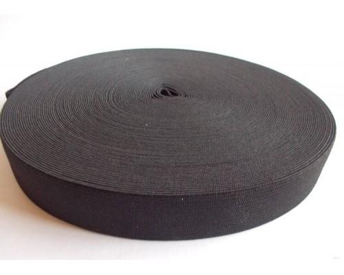 Резинка 40 мм, вязаная, рулон 50 м, черная