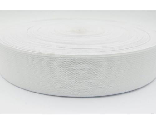 Резинка 40 мм, вязаная, рулон 50 м, белая