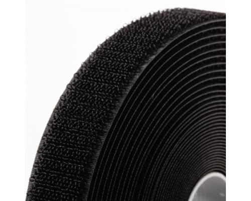 Лента крючковая 25 мм, черная, рулон 25 м, КНР