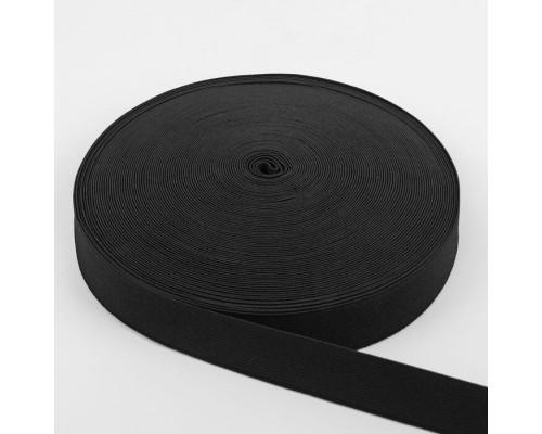 Резинка 25 мм вязаная, рулон 50 м, черная