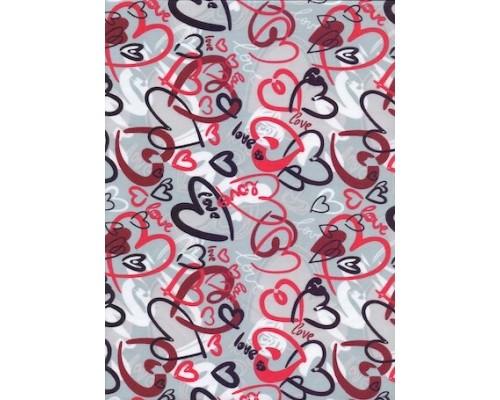 Ткань СVC, 150 г/м2, Серые Сердца (арт. №S07) шир. 150 см