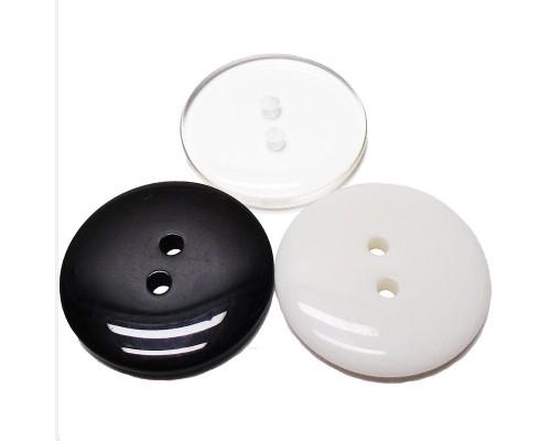 Пуговица 10 мм, №16: бел, черн, прозр, 2 отв, упак. 5000 шт, Турция