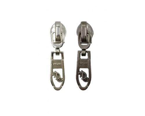 Бегунок для металла Т-5 декор №3, никель/т. никель, 100 шт