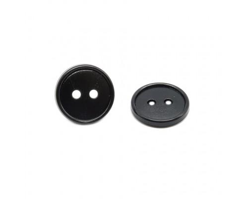 Пуговица 14 мм. ПП: черная, 2 отверстия, 1000 шт в 1 уп.