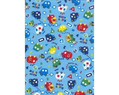 Ткань Тиси 120 г/м2, Голубые Машинки (арт. №2694) шир. 1,50 м