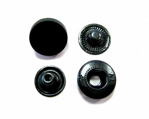 Кнопки 15 мм Альфа, черный пластик, оксид, упак. 1440 шт