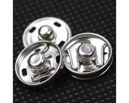 Кнопка 15 мм потайная, никель, упак. 100 шт